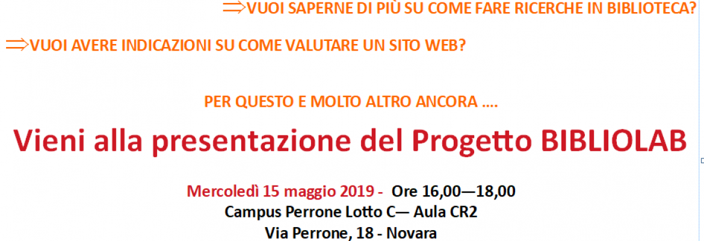 Bibliolab a Novara 15 maggio 2019